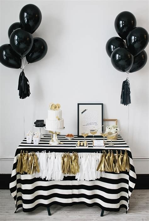 black and white party table centerpieces kate spade bridal shower ideas galore b lovely events