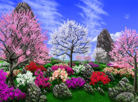 Drawn Scenery Spring Scenery  Pencil And In Color Drawn