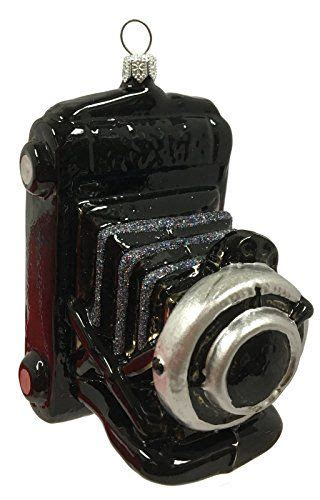 black vintage camera polish glass christmas ornament