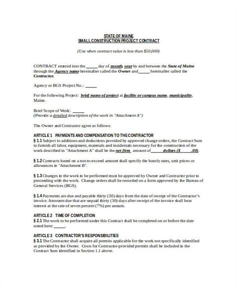 construction contract template  word  apple