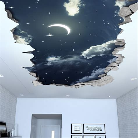 3d Wallpaper Sticker by Sky 3d Effect Ceiling Decal House 3d Wall