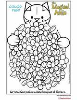 Coloring Bouquet Attic Cat Crystal Flower Magical Teachervision sketch template