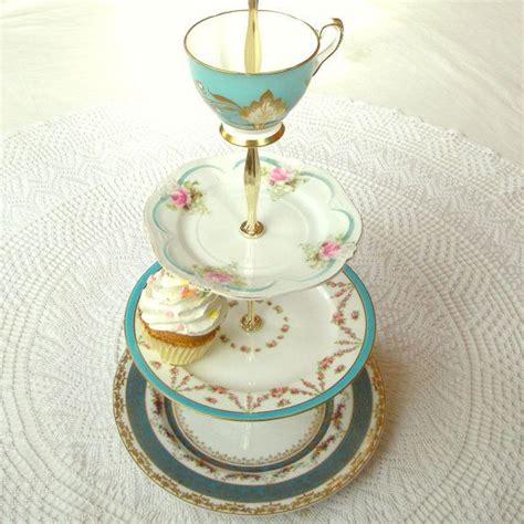 alice sails   tier tiffany blue cupcake stand aqua teal vintage china cake plates display