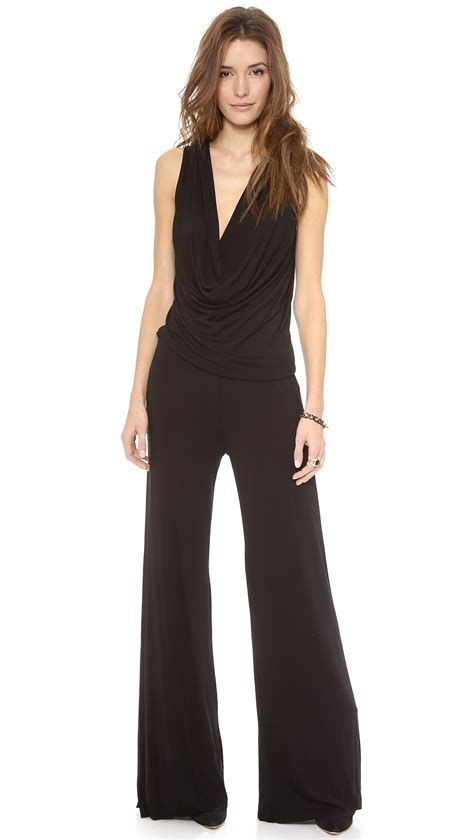 fabulous and jumpsuit fabulous lisle jumpsuit black in black lyst