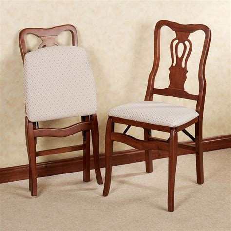scroll back wooden folding chair pair