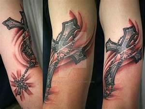 Cross Shine Rosary Tattoo by 2Face-Tattoo on DeviantArt