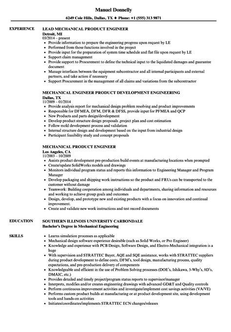 mechanical product engineer resume sles velvet