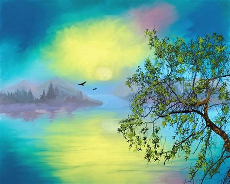 illustration bird landscape water scape art