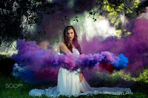 blue  purple smoke trails smoke grenade photography