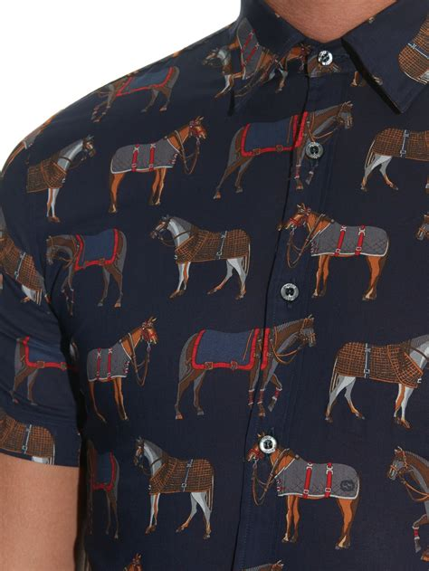 lyst gucci horse print cotton shirt  blue  men