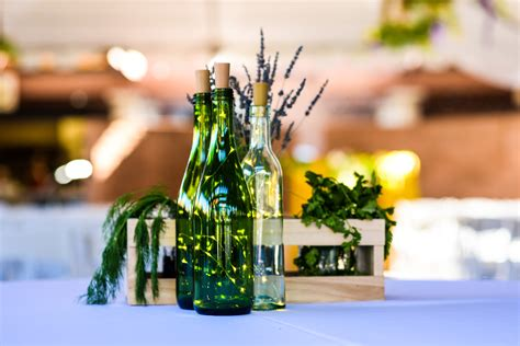 Twinkle Lights Wine Bottle Centerpiece Wedding