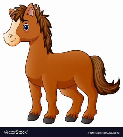 Horse Cartoon Brown Vector Vectorstock Royalty