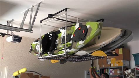 garage kayak hoist storage solution youtube