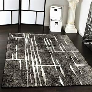 Grands Tapis design salon gris noir et blanc pas cher 2017
