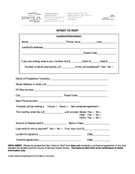 intent rent form fill   sign printable