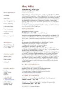 purchasing manager resume skills purchasing manager cv sle