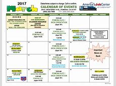 America's Job Center Month of March Calendar of Events