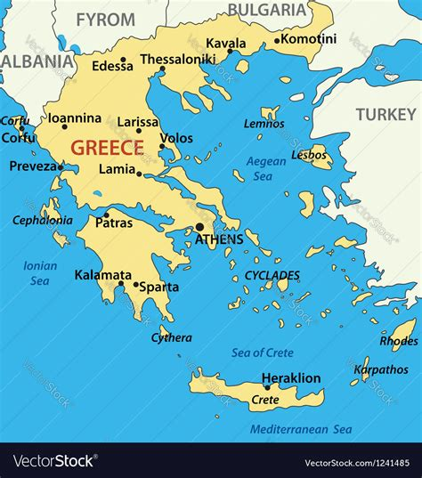 map  greece royalty  vector image vectorstock