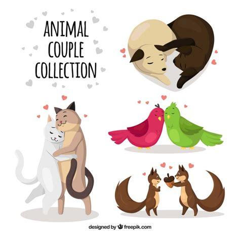 Animal pet puppy cat cute silhouette paw canine funny dog. Flat valentine's day animal couples collection   Free Vector