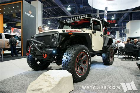 tan jeep wrangler 2 door 2016 sema show rugged ridge tan 2 door jeep jk wrangler