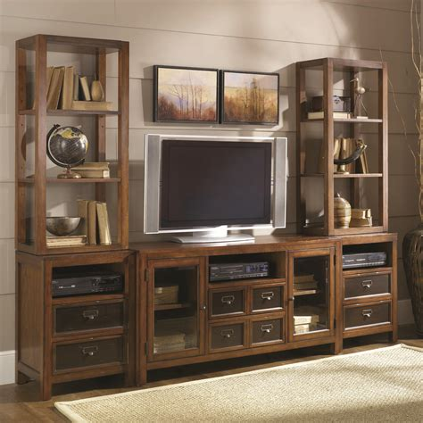saginaw on wall units furniture hammary mercantile six drawer two door entertainment wall