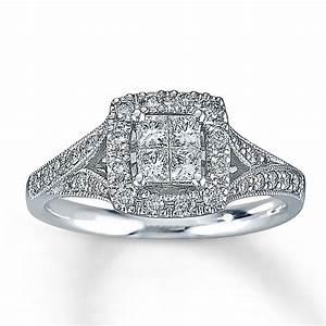kay diamond engagement ring 1 2 ct tw diamonds 14k white With 2 ct wedding rings
