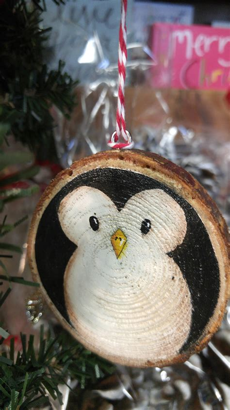 penguin hand painted wood slice ornament   backyard