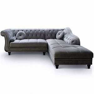 canape angle droit velours gris chesterfield lestendancesfr With canapé d angle velours gris