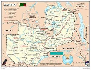 Zambia Map - blank Political Zambia map with cities