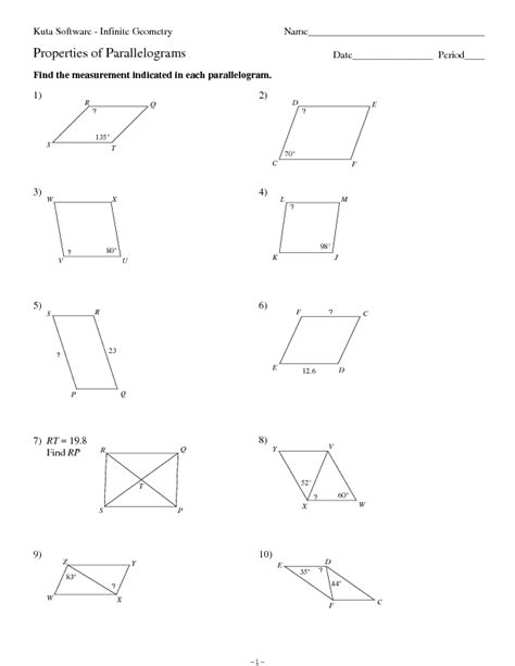 worksheet properties of parallelograms worksheet