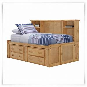 City Furniture: Cinnamon Mid Tone Storage Bookcase Daybed