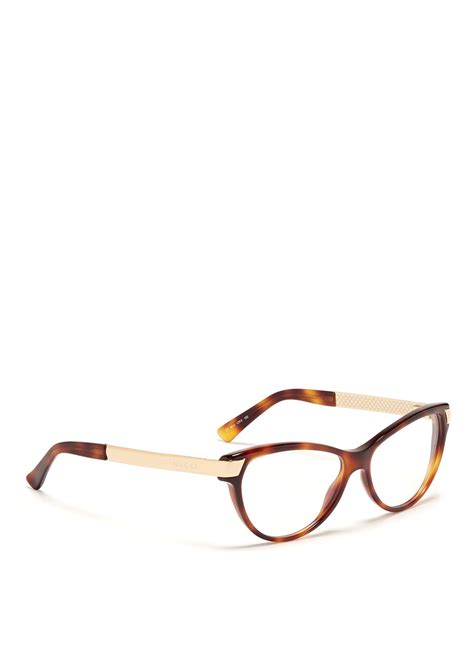 gucci metal arm tortoiseshell frame optical glasses