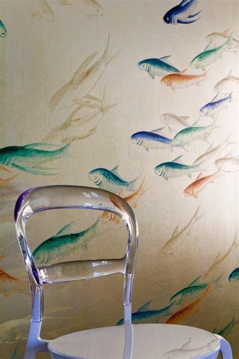 metallic fish wallpaper transitional living room brittney nielsen interior design