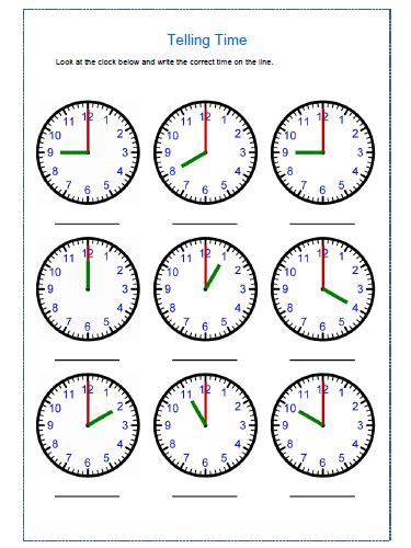 practice telling time worksheets  telling time