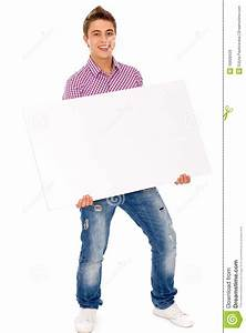 Man holding blank poster stock image. Image of paper ...