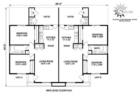 traditional style multi family plan    bed  bath duplex floor plans family house