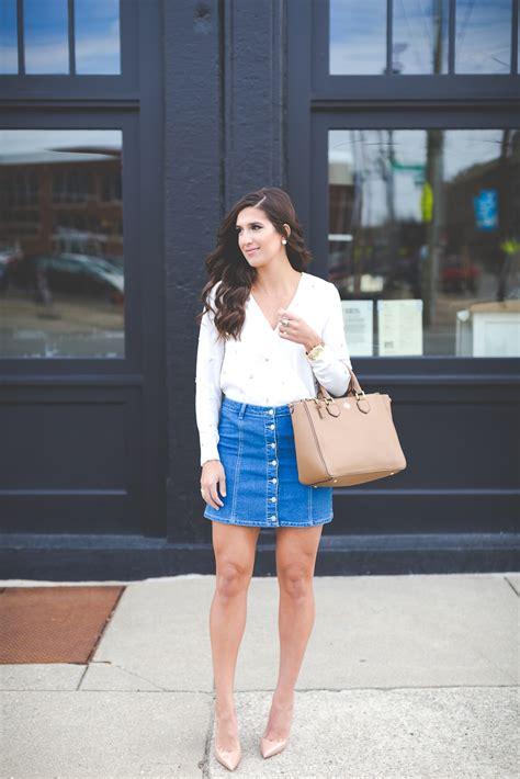 Button Denim Skirt | A Southern Drawl