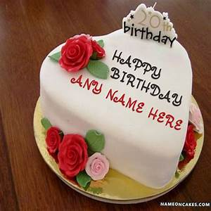 Romantic 20th Happy Birthday Cake With Name