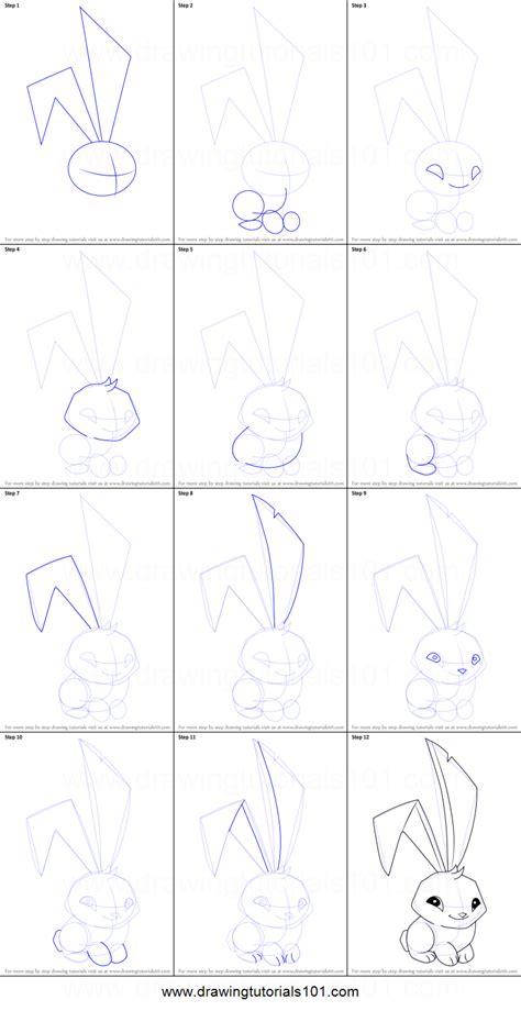 draw bunny  animal jam printable step  step