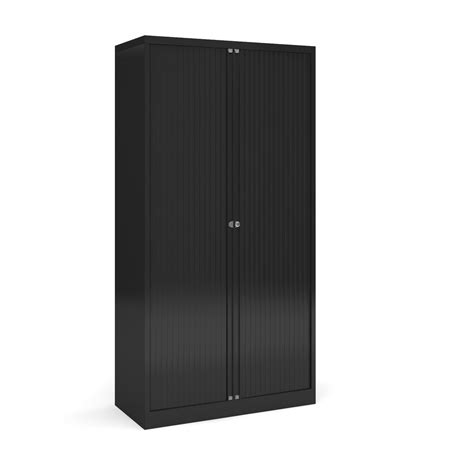 Black Office Cupboard by Bisley High Tambour Cupboard In Black Office Resale