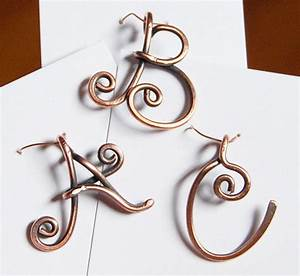 Initial pendant charm oxidized copper wire letter for Wire jewelry letters