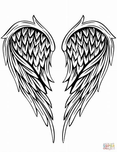 Wings Angel Printable Template Coloring Tattoo Coloringpage