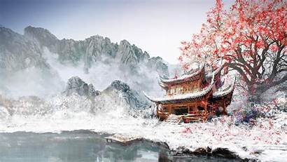 Chinese Temple Mountain Snowy Valley Landscape Wallpapers