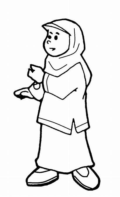 Kartun Mewarnai Muslimah Gambar Sekolah Anak Sketsa