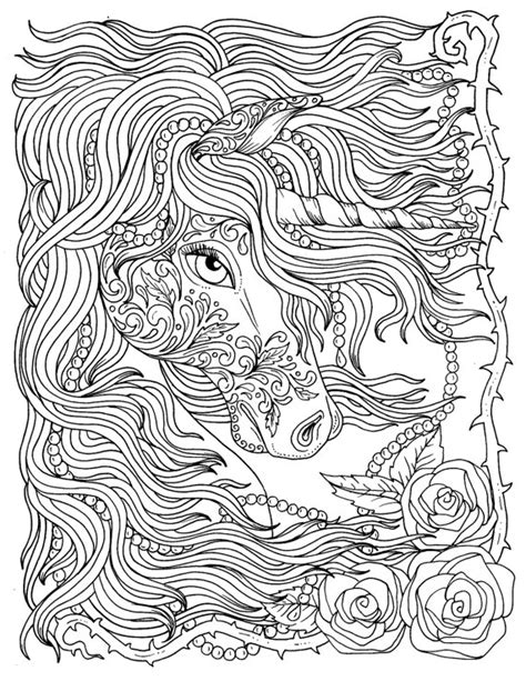 unicorn  pearls fantasy coloring page adult coloring