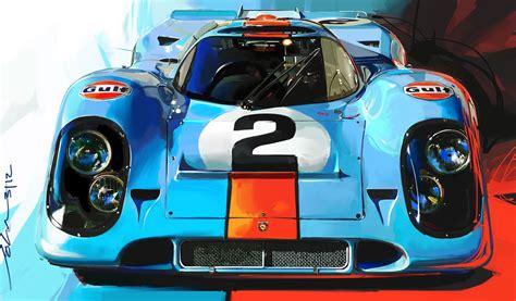 porsche 917 art gulf porsche 917 by john krsteski
