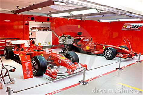 garage  formula  team ferrari editorial stock photo