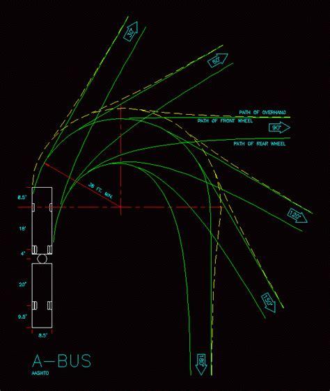 aashto minumum design turning radius dwg block  autocad