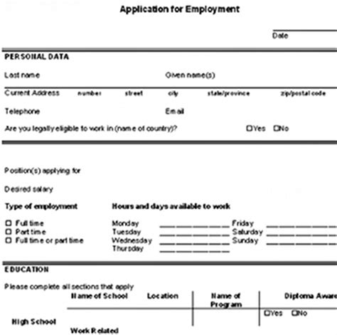 Mock Resume Fill In The Blanks by Blank Employment Application
