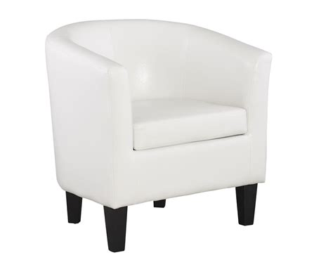 linden white faux leather tub chair